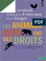 CYRULNIK, FONTENAY & SINGER - Les Animaux aussi ont des droits