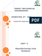 Manufacturing Cost Analysis unit 3