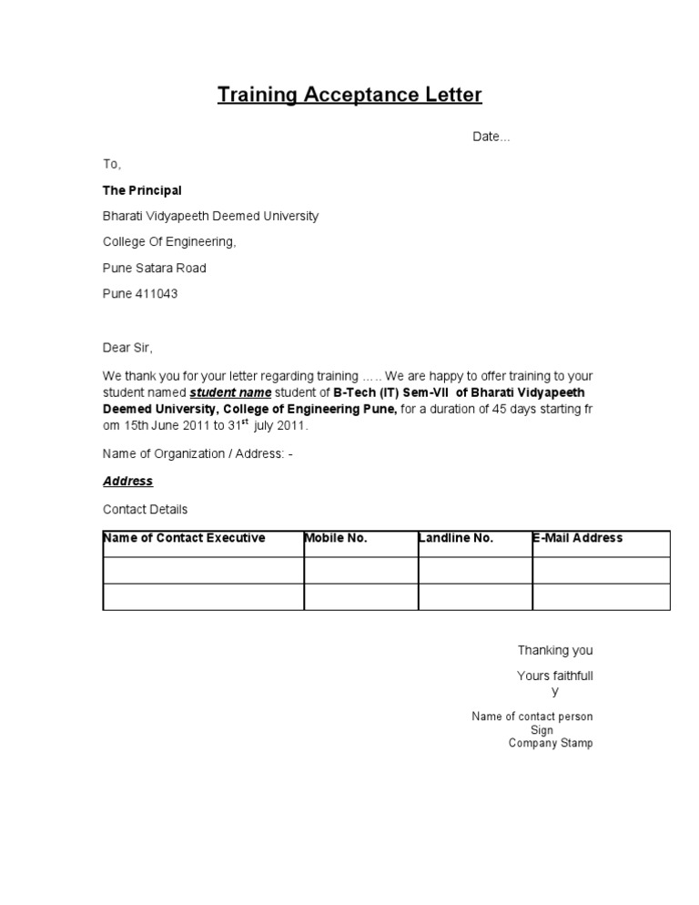 Confirmation Letter Format For Project Training.  1522746759 v 1