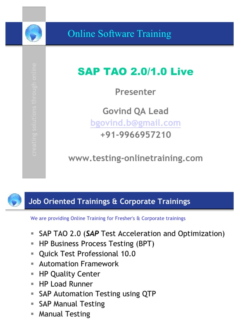 SAP TAO 2, SAP TAO 1,TAO,HPQTP,HP QTP,QTP,SAP,SAP Testing, Automation  testing,HP BPT,BPT,HP Business Process Testing,HP QC, Quality Center,Manual  Testing, ...