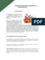 EL COMPORTAMIENTO INDIVIDUAL DENTRO DE LA ORGANIZACIÓN