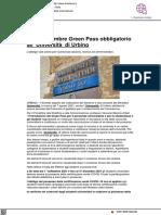 Dal 1 settembre Green Pass obbligatorio all'Università di Urbino - Il Metauro.it, 20 agosto 2021