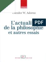 Lactualite de La Philosophie Et Autre Essais by Theodor W. Adorno (Z-lib.org)