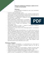Fichamento - Em Torno da Ideia de Performance e Performance e Recepção (capítulos do livro Performance, Recepção e Leitura, de Paul Zumthor)