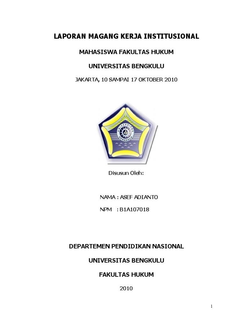 Laporan Magang Fh Unib Jakarta 2010