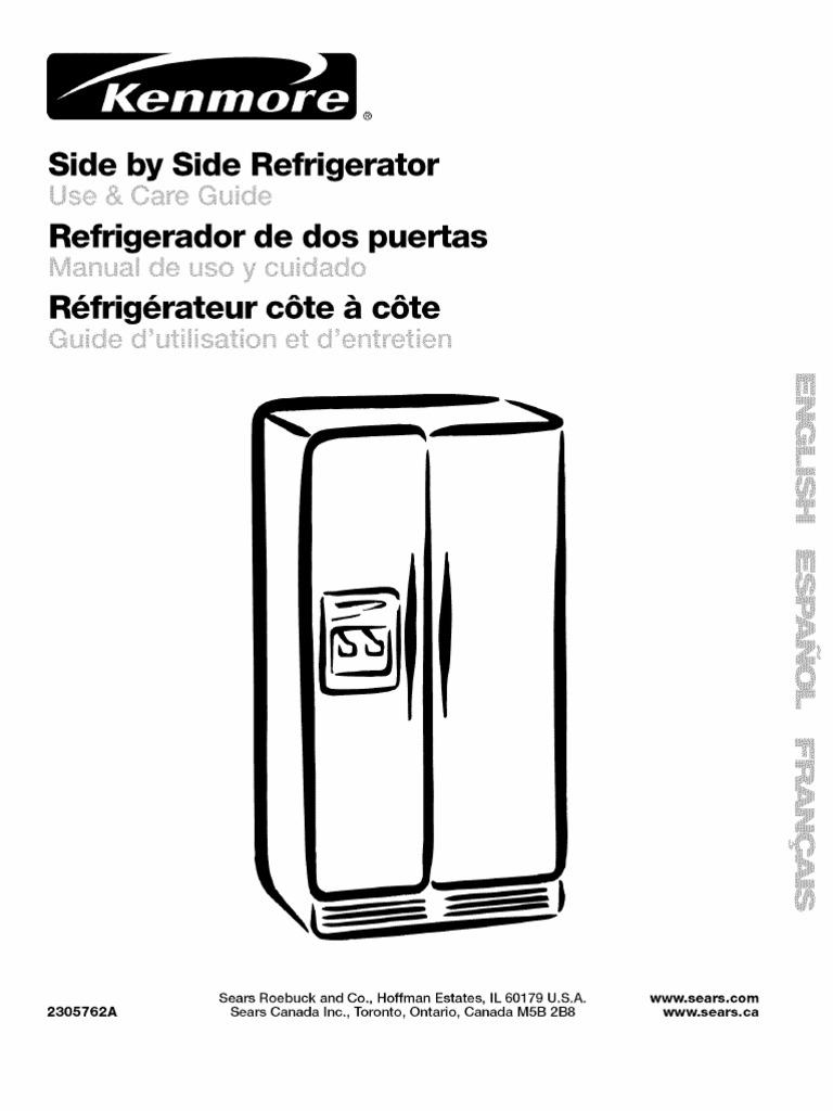 "Kenmore (Whirlpool) ""Coldspot"" Refrigerator Manual - Model 106.56249400    Refrigerator   Ice"