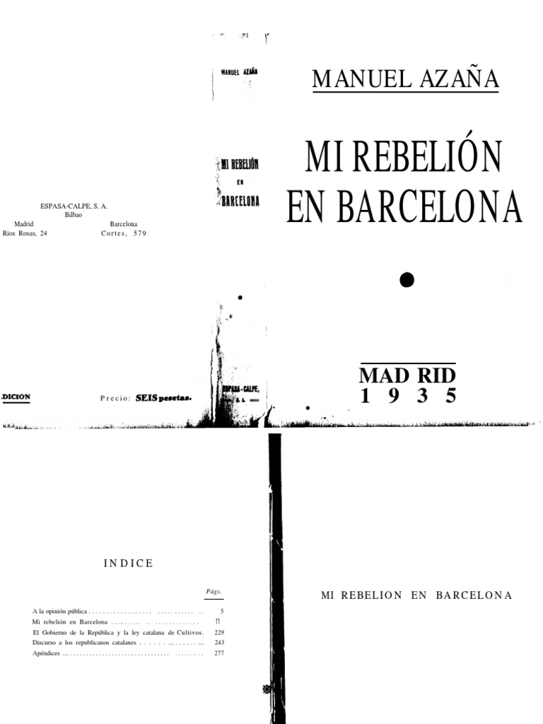 Mi rebelión en Barcelona (Manuel Azaña)