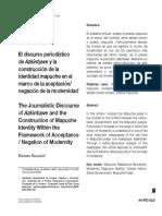 Gallegos (2020)_Construcción de La Identidad Mapuche en El Marco de La Aceptación:Negación de La Modernidad