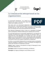 La comunicación interpoersonal en las organizaciones
