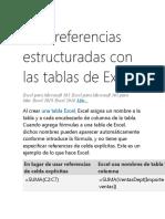 Usar referencias estructuradas con las tablas de Excel