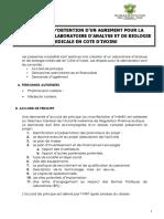 Modalites d'Obtention d'Une Licence de Creation Et d'Exploitation d'Un Laboratoire d'Analyse Et de Biologie Med