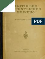 Tönnies, Ferdinand - Kritik Der Öffentlichen Meinung