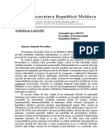 Scrisoarea Procuraturii Generale către președintele Parlamentului, Igor Grosu