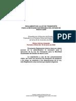 Reglamento de la Ley de Transporte para la Movilidad Sustentable del Estado de Nuevo León