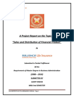 Sales and Distribution of Financial Product of reliance life insurance