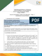 Guia de actividades y Rúbrica de evaluación - Unidad 1 - Paso 1 - Actividad de reconocimiento