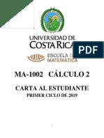 CARTA AL ESTUDIANTE Calculo II