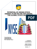 (J.Ganesh and Ankit Mour Sec-F Grp-B) POTENTIAL OF INDIAN STOCK MARKET TO BE ON THE TOP AMONG THE GLOBAL STOCK MARKET
