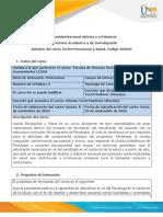 Syllabus del curso  Acción psicosocial y Salud