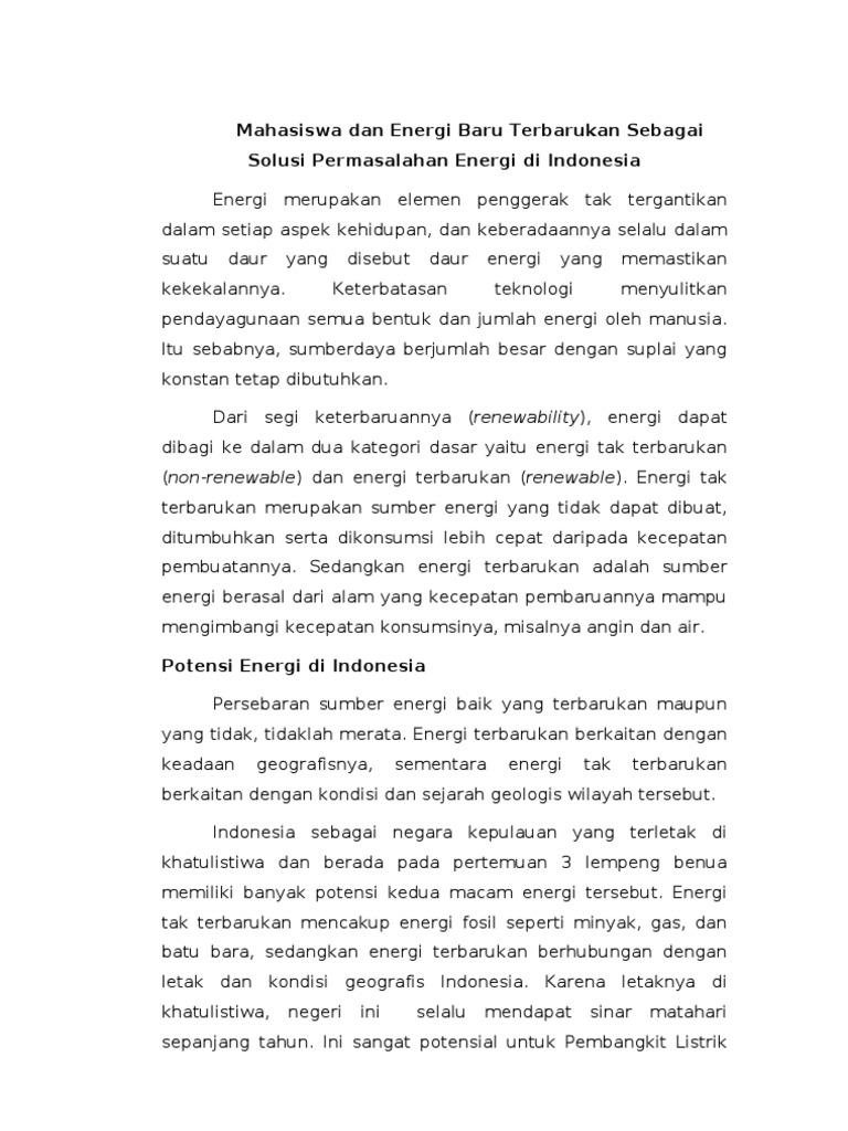 Essay Tata Kelola Energi