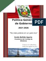 Discurso de premier Guido Bellido solicitando el voto de confianza