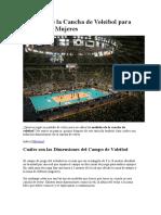 Medidas de la Cancha de Voleibol para Hombres y Mujeres