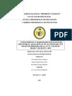 T023_45203306.pdf. CONOCIMIENTO Y HABILIDADES SOCIALES PARA PREVENIR EL ABUSO SEXUAL EN ALUMNOS DEL 4TO GRADO DE PRIMARIA DE LA G.U.E. LEONCIO PRADO - HUANUCO - 2019