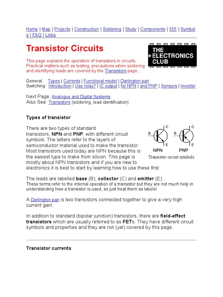 Tansistor As Switch Bipolar Junction Transistor Npn Circuits