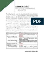 Comunicado Nº 01 Lp 005 Pampa Grande Visita
