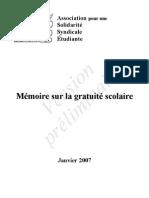 Mémoire Gratuité Scolaire (ASSÉ)