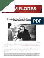 """""""O Que do Que Fazer_"""", de Louis Althusser, e a relação entre os comunistas e as massas – CEM FLORES"""