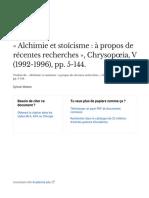 Alchimie Et Stocisme Propos de Rcentes Recherches Chrysopia v 1992-1996 Pp5-144 - Fr