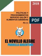 Politica Servicio y Cocina Novillo Alegre Marzo 2018