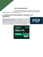 Graines _ températures de germination
