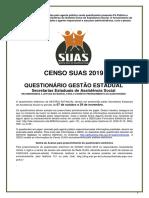 Questionario Gestao Estadual - Censo SUAS 2019