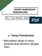 TAHAP-TAHAP HUBUNGAN TERAPEUTIK