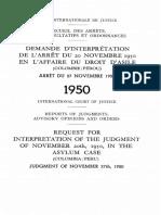 Affaire du droit d'asile demande d'interprétation