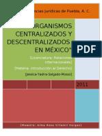 ORGANISMOS CENTRALIZADOS Y DESCENTRALIZADOS EN MÉXICO