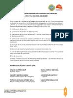 Acta de Junta Directiva No. 168 de 2021