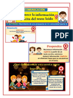 comunicacion ( reconoce la informacion explicada del texto leido )