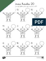 Sumas Hasta 20 Robots Ficha de Actividad