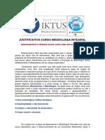 2021 RELEASE JUSTIFICATIVA CURSO DE MISSIOLOGIA INTEGRAL 2021 10 módulos