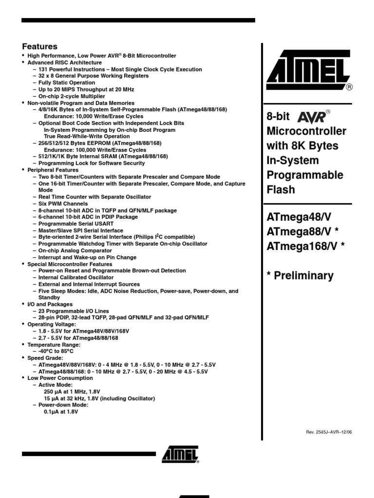ATMega88-20MU Atmel ATMega 88 AVR Controller MLF32