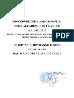 Bando TRIENNIO 2021-2022