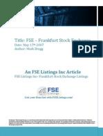 FSE Listings Frankfurt Stock Exchange May 172007