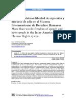 Más Que Palabras.libertad de Expresión y Discurso de Odio en El Sistema Interamericano