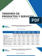 Tarifario de Productos y Servicios Agosto 25