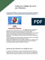Listado de Todos Los Códigos de Error Generados Por Windows