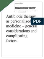 La terapia con antibióticos como medicina personalizada- consideraciones generales y factores de complicación