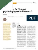 Impact psychologique de Télétravail